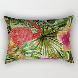 Tropical Vintage Exotic Jungle- Floral and Flamingo watercolor pattern Rectangular Pillow