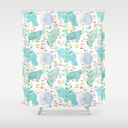 Lazy Manatees Shower Curtain