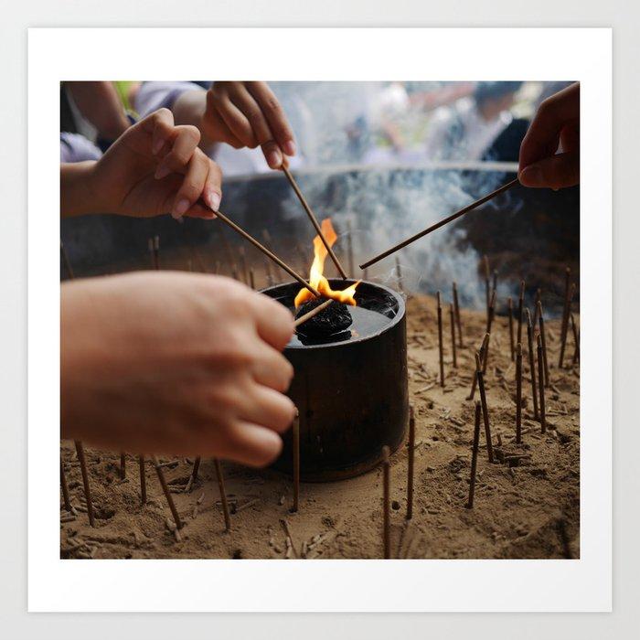 Burning at Nara Art Print