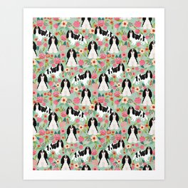 Cavalier King Charles Spaniel floral flowers dog breed pattern dogs mint Art Print