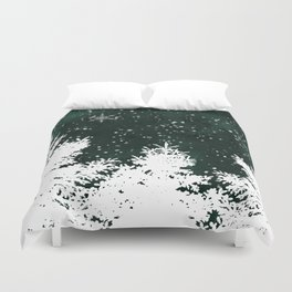 Pine snowflakes winter snow christmas green deep forest watercolor Duvet Cover