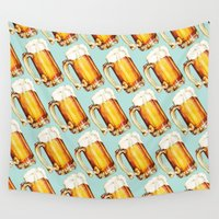beer Wall Tapestries featuring Beer Pattern by Kelly Gilleran
