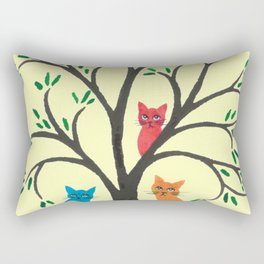 Queens Whimsical Cats in Tree Rectangular Pillow