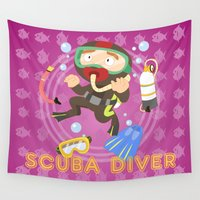 scuba Wall Tapestries featuring Scuba dive by Alapapaju