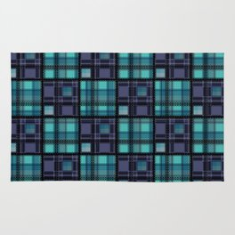 Blue purple colorful checkered pattern . Rug