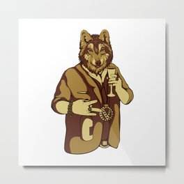 Sophisticated Wolf - having a drink Metal Print