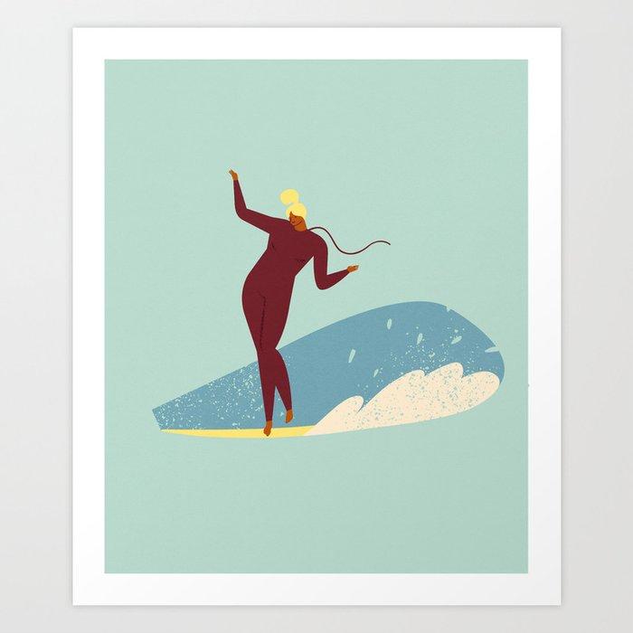 Surf girl Art Print