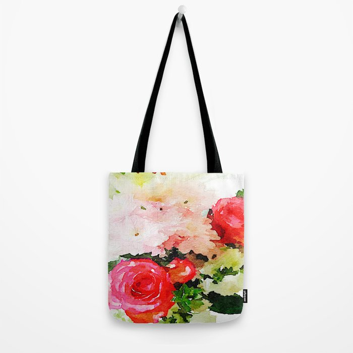 Garden Roses Watercolor Tote Bag