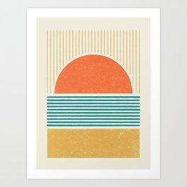Sun Beach Stripes - Mid Century Modern Abstract Art Print