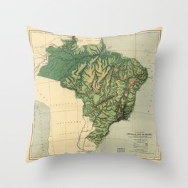 Physical Map of Brazil (1886) Throw Pillow