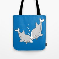 dolphins Tote Bags featuring Dolphins by joanfriends