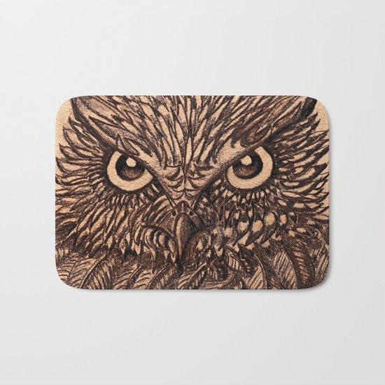 Fierce Brown Owl Bath Mat