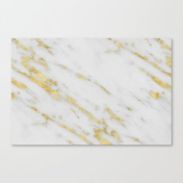 Marble - Shimmery Gold Marble on White Pattern Canvas Print