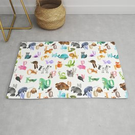 Cute Watercolor Animal Alphabet Pattern Rug
