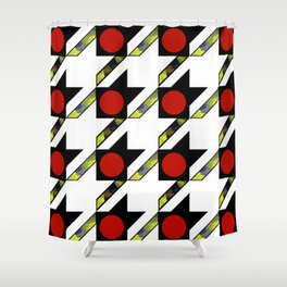 HOUNDSTOOTH PATTERN WITH POLKA DOT EFFECT Shower Curtain