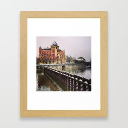 Cold and dark riverbank. Framed Art Print