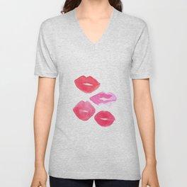 MAKEUP PRINT Shabby Chic Decor Pink Lips Print Printable Art Poster Gallery Art print Unisex V-Neck
