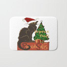Joyeux Noel Le Chat Noir With Tree And Gifts Bath Mat