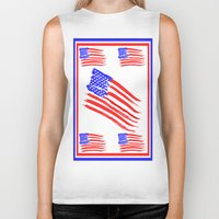 american flag Biker Tanks featuring American Flag by Art by Samantha Perez
