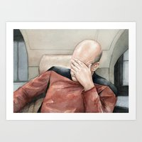 picard Art Prints featuring Picard Facepalm Meme by Olechka