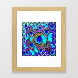 Abstract Blue Butterflies  Peacock Feather Eyes Pattern Art Framed Art Print