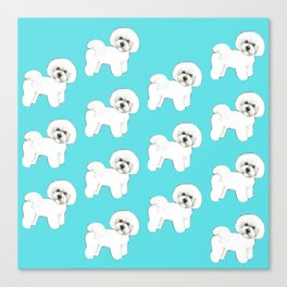 Bichon Frise on aqua / teal / cute dogs/ dog lovers gift Canvas Print