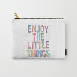 Enjoy the Little Things Watercolor Rainbow Design Inspirational Quote bedroom Wall Art Home Decor Carry-All Pouch