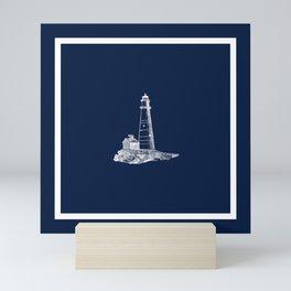 Coastal Lighthouse Illustration in White and Nautical Navy Blue (framed) Mini Art Print