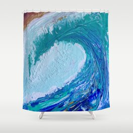"""""""Pacific Wave"""" by Laurie Ann Hunter Shower Curtain"""