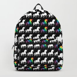 White & Watercolor Rainbow Unicorn Silhouettes Pattern Backpack