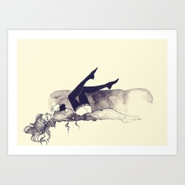 Lady lying on couch Art Print