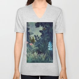 The Equatorial Jungle with Lions by Henry Rousseau Unisex V-Neck