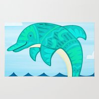 dolphin Area & Throw Rugs featuring Dolphin by Claire Lordon