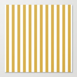 Large Mustard Yellow and White Cabana Tent Stripe Canvas Print
