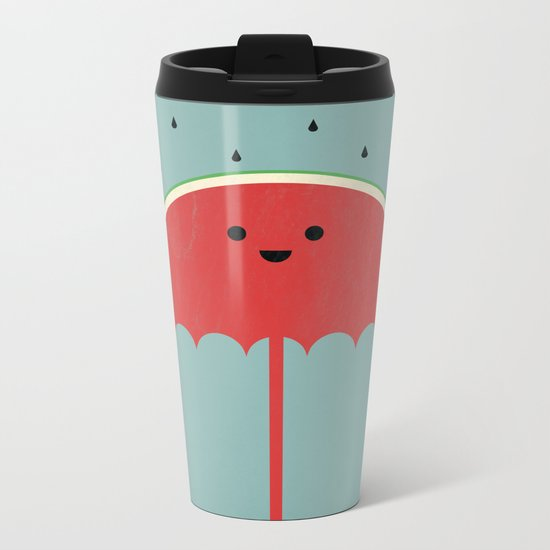Watermelon Umbrella Metal Travel Mug