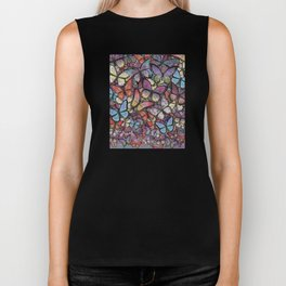 butterflies aflutter colorful version Biker Tank