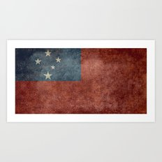 Samoan national flag - Vintage retro version to scale Art Print