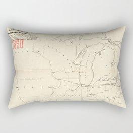 Railroad & The Northwestern States in 1850 Rectangular Pillow