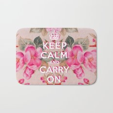 Pink Girly keep Calm and Carry on Vintage pink elegant floral roses Bath Mat