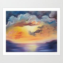 cloud dreaming, skyscape, ocean sunset, purple sunset, clouds artwork, sky painting Art Print