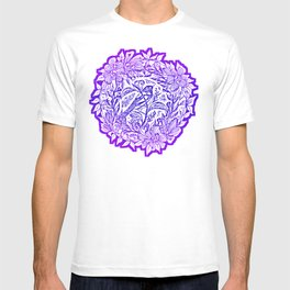Songbird In Magnolia Wreath, Purple Linocut T-shirt