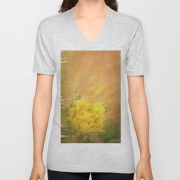 Vintage painting yellow rose Unisex V-Neck