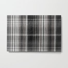 Black white checked cotton cloth textured Metal Print