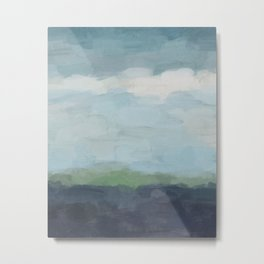 Navy Teal Aqua Sky Blue Green Abstract Wall Art, Painting Art, Nature Horizon, Modern Wall Metal Print