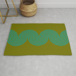 groovy minimalist pattern aqua waves on olive Rug