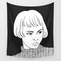 hitchcock Wall Tapestries featuring Chic Lady by Cannibal Malabar