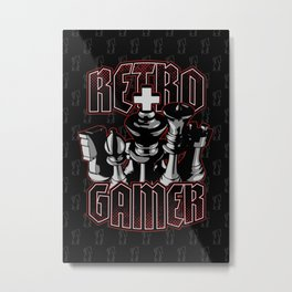 Chess Retro Gamer Metal Print
