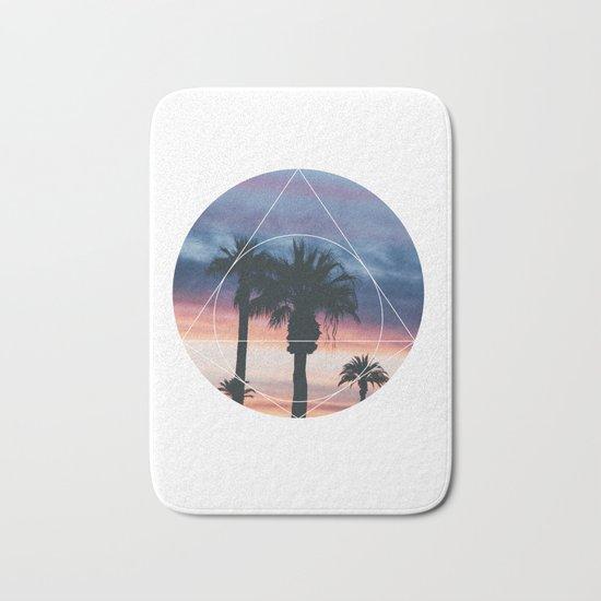 Sunset Palms - Geometric Photography Bath Mat