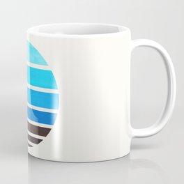Cerulean Blue Mid Century Modern Minimalist Circle Round Photo Staggered Sunset Geometric Stripe Des Coffee Mug