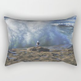 No Fear ~ Seagull Watching Waves ~ Sunset Cliffs, California Rectangular Pillow